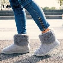 LALA IKAI/женские зимние сапоги на меху, теплые флоковые шерстяные сапожки без застежек, однотонные повседневные сапоги, обувь для улицы, обувь для снега, обувь для женщин