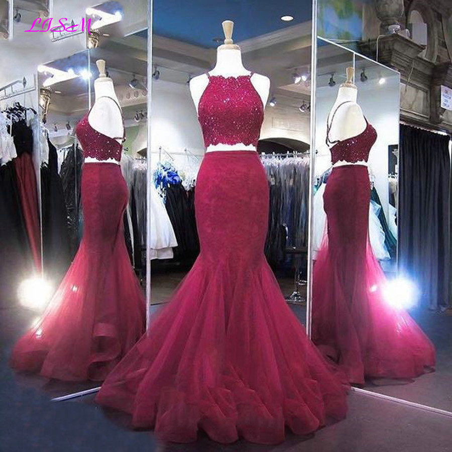 Long Lace Beaded Mermaid   Prom     Dresses   Two Pieces Evening Gowns Halter Crop Top Backless Organza Pageant   Dress   robe de soiree