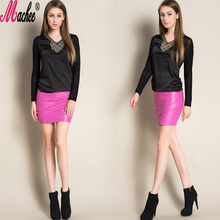 2017 New Autumn Winter European and American Style High Waist Casual Black Sexy Short Fleece Woman Mini PU Leather Pencil Skirt