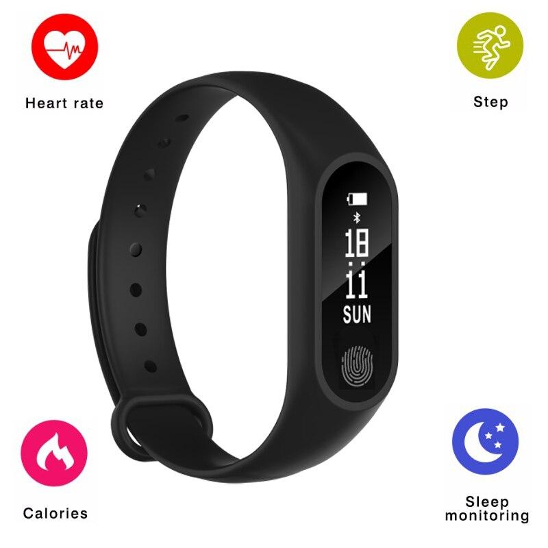 M2 Bande À Puce Bluetooth Bracelet Moniteur de Fréquence Cardiaque Podomètre Smartband Fitness Sommeil Tracker Bracelet À Puce pour Android IOS