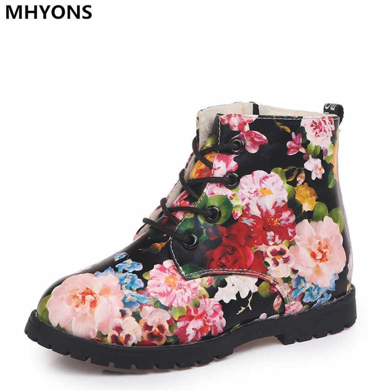kids Warm Boots 2018 New Winter child Floral Sneaker Rubber Sole Girls Graceful Flower Printed Martin girls snow boots shoes