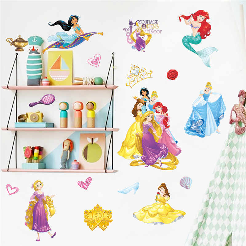 Beautiful Cinderalle Aurora Rapunzel Disney Princess Decorative Stickers For Girl's Room Home Decoration Kids Wall Decals Poster
