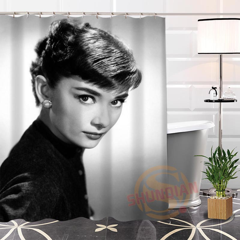 Best Nice Eco-friendly Custom Unique Audrey Hepburn Fabric Modern Shower Curtain bathroom Waterproof for yourself H0220-100