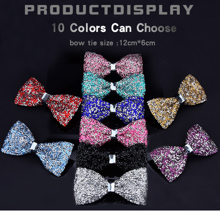 New bow tie crystal bling butterfly knot for men wedding banquet feast club party bridegroom shinning 1