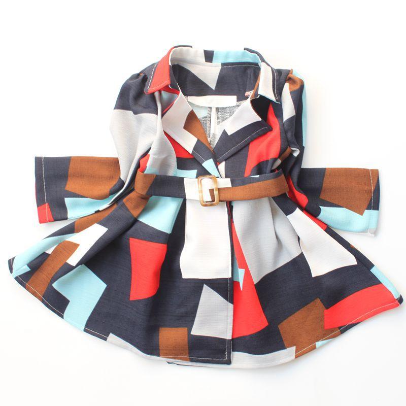 Girls fashion trench coat 2016 autumn winter new girls geometric bouquet waist long coats girls comfortable