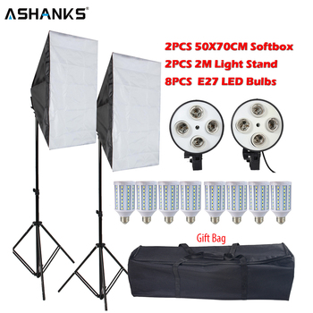 8PCS Lamps E27 LED Bulbs Photography Lighting Kit Photo Equipment 2PCS Softbox Lightbox+Light Stand For Photo Studio Diffuser