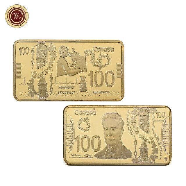 WR Canada 100 Gold Bar 9999 Home Decorative Paper Money Souvenir Bars Worth Collection