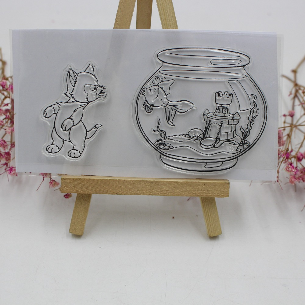 Cat Kiss Fish Tank Transparent Clear Silicone Stamp/Seal for DIY Scrapbooking/photo Album Decorative Clear Stamp Card Making