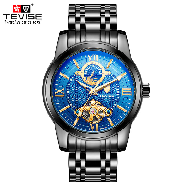 TEVISE Men Automatic Self-Wind Mechanical Wristwatches Business Stainless Steel Moon Phase Tourbillon Luxury Watch Clock T805D tevise men automatic self wind gola stainless steel watches luxury 12 symbolic animals dial mechanical date wristwatches9055g