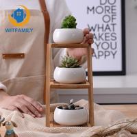 3 Bonsai Planters with 3 Tier Bamboo Shelf Home Garden Decor 1 Set Modern Minimalist White Ceramic Flowerpot Succulent Plant Pot