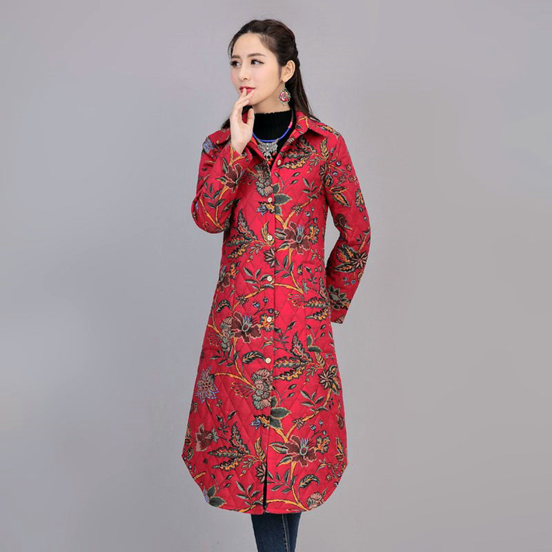 ФОТО Four Flowers Print Warm Thick Cotton Padded Long Coat Autumn New Casual Slim Jacket Women Winter Casual Outerwear