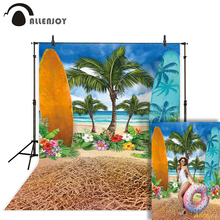 Allenjoy summer surfing background for photo studio surfboard tree flowers beach sea painting photography backdrop photobooth allenjoy christmas background for photo studio wedding gray wood green leaves party backdrop photobooth