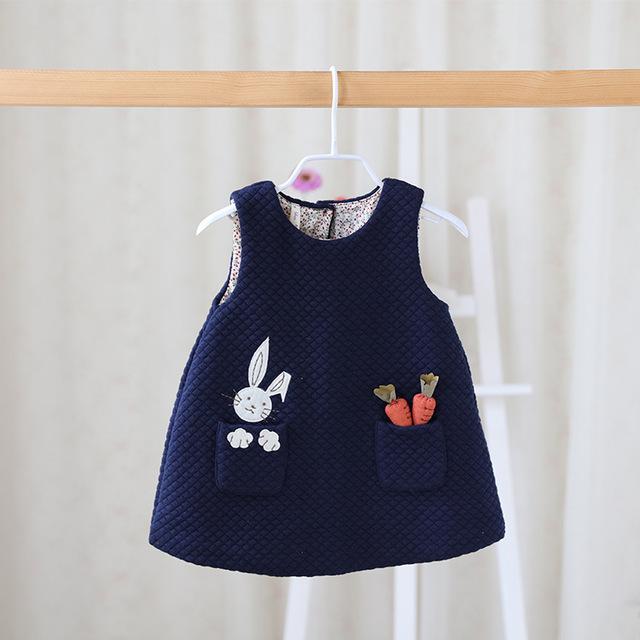 2016 nueva ropa de invierno o del otoño dulce bebé niñas niños ropa de bebé vestido de las muchachas de bolsillo del chaleco y del recién nacido