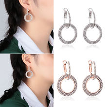 New Fashion Women Exaggeration Flicker Bright Earrings Geometric Double Round Circle Hoop Crystal Dangle Earrings Jewelry Gifts(China)