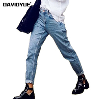 Fashion 2018 vintage style High Waist Mom Jeans Elastic casual Denim Jeans Female loose stretch Cowboy Trousers Boyfriend Jeans