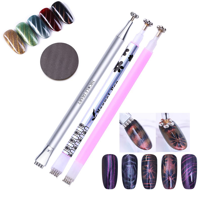 NICOLE DIARY Nail Art Cat Eye Magnet Stick Dual-ended 3D Line Strip Floral Strong Magnetic Pen UV Gel Polish Magnet Board