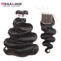 Megalook Brazilian Body Wave Human Hair Weave Bundles With 4x4 Lace Closure 3pcs+1 Closure Wavy Tissage Cheveux Humain
