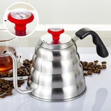 Drip Kettle Coffee Tea Pot 1.2L Stainless Steel Coffee Gooseneck Drip Kettle with Creative Thermometer Suit For Induction Cooker