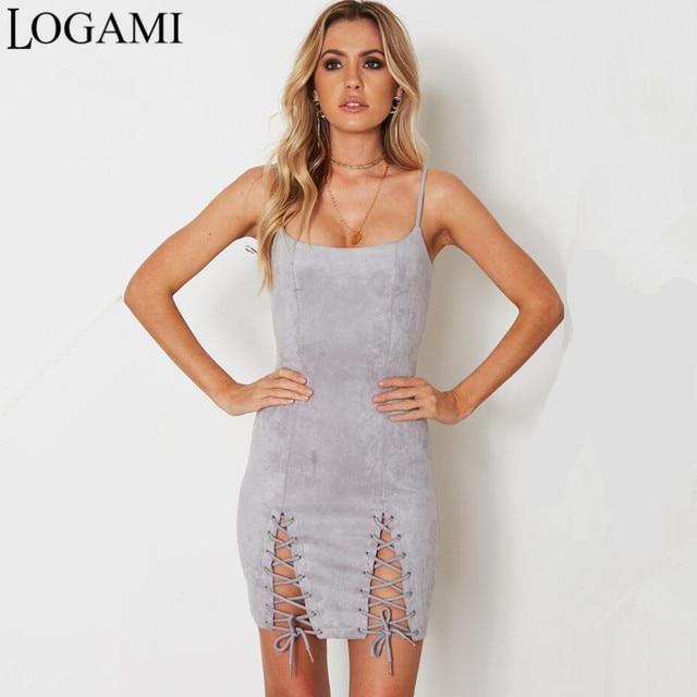 921b20e1b2c LOGAMI Suede Dress Strap Sexy Bodycon Dress 2017 Summer Autumn Party Club  Dresses Ladies Mini Dress Robe Femme Ete