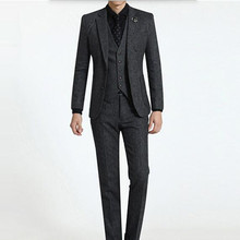 Tailor made wool men's suits stylish wedding suits tuxedos high quality slim fit groom best man formal suits(jacket+vest+pants)