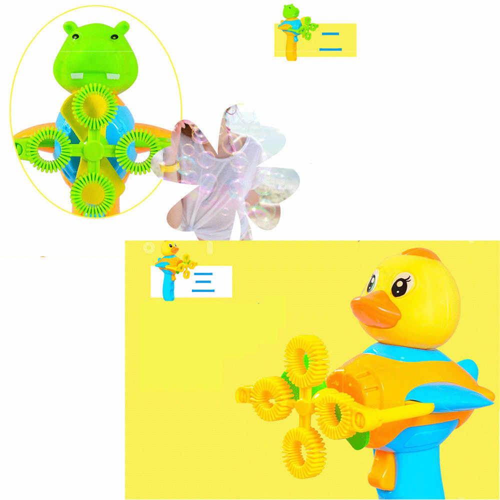 Мыло машина с пузырями Bubble воздуходувка Детский мультфильм ручной автоматический Электрический четыре отверстия выдувание пузырьковая игрушка D300302