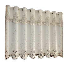 Quality tube curtain semi-shade embroidery fabric finished product kitchen coffee