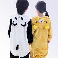 Пижама детская для мальчиков и девочек; пижамы с рисунками животных; детская одежда для сна с капюшоном и рисунком медведя, панды; милые флан...
