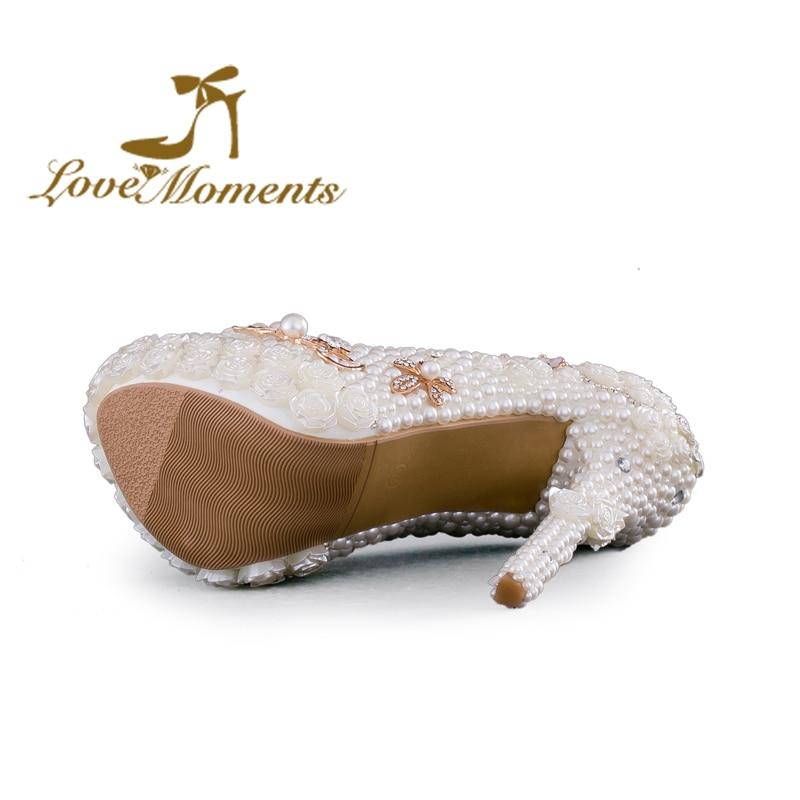 Talons D'amour Pompes Femmes De Perle La Fleurs Parti Chaussures Mariage Moments Plate Fête D'anniversaire Heels 14cm 11cm 8cm Heels forme Main Heels Blanc À Haute OqxXd6