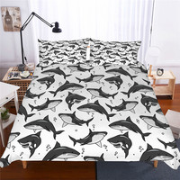 Black and White Color Sharks Printed Bed Linen Digital Printing Single Queen King 3D Duvet Cover Sets Shark Bedding Set