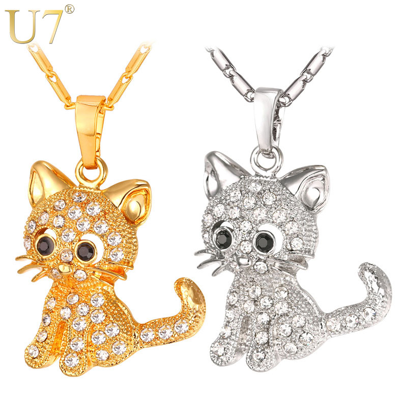 U7 Brand Cute Cat Pendants & Chain Gold/Silver Color Rhinests