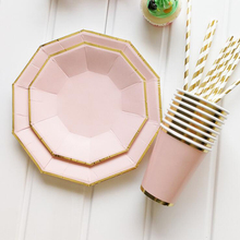 AVEBIEN Hot Pink Decagon Party Disposable Tableware Birthday Paper Cup Straw Plate Baby Shower Wedding supplies 49pc