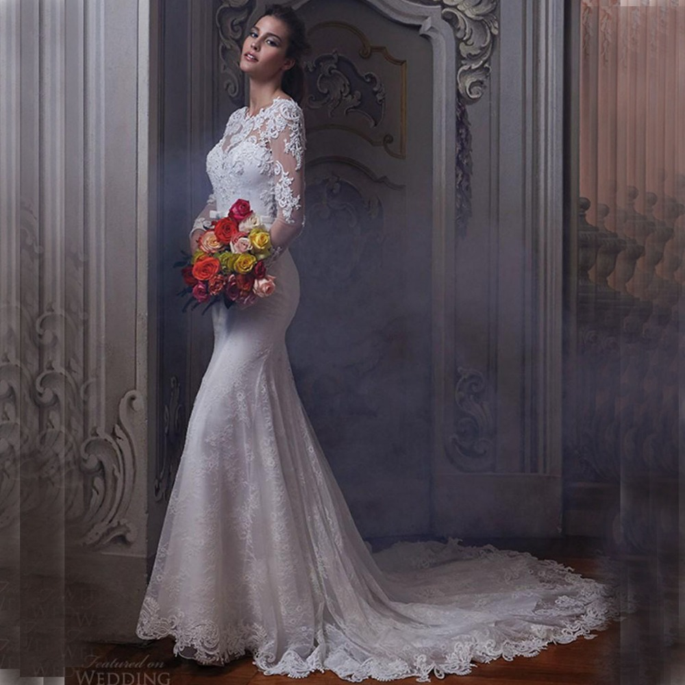 2016 keyhole back wedding dresses lace sheer long sleeves