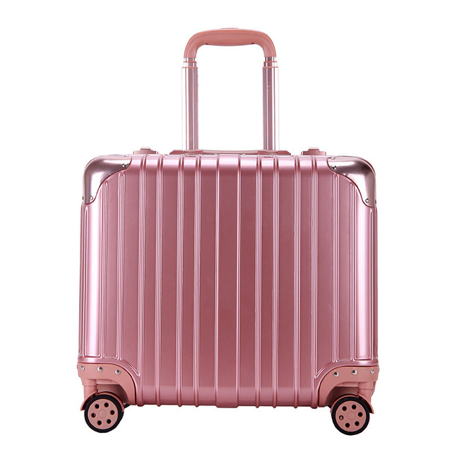 """High-End Aluminum Frame Hard Case Luggage Universal Wheels Trolley Luggage Men and Women Travel Suitcase 18"""" Boarding case"""