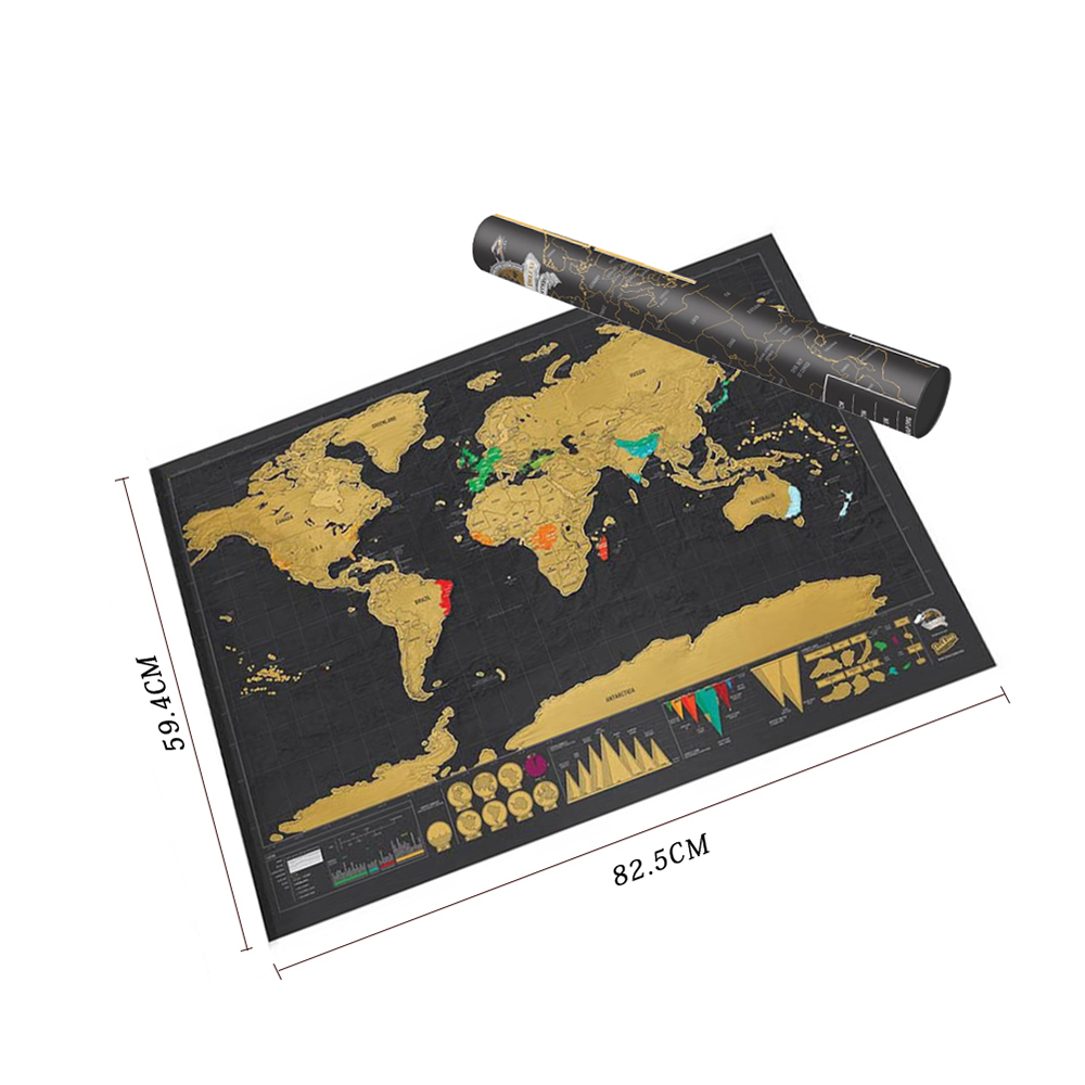 Scratch Mapscratch Off World Travel Map Poster Copper Foil Wall Sticker Personalized Journal Log Big Size With Cylinder Packing