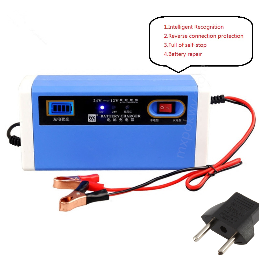 Portable 12V 10A Car Battery Charger Power Supply 12V/24V 10A Auto Car Charger With LCD Display For Lead Acid Battery 4AH-200AH