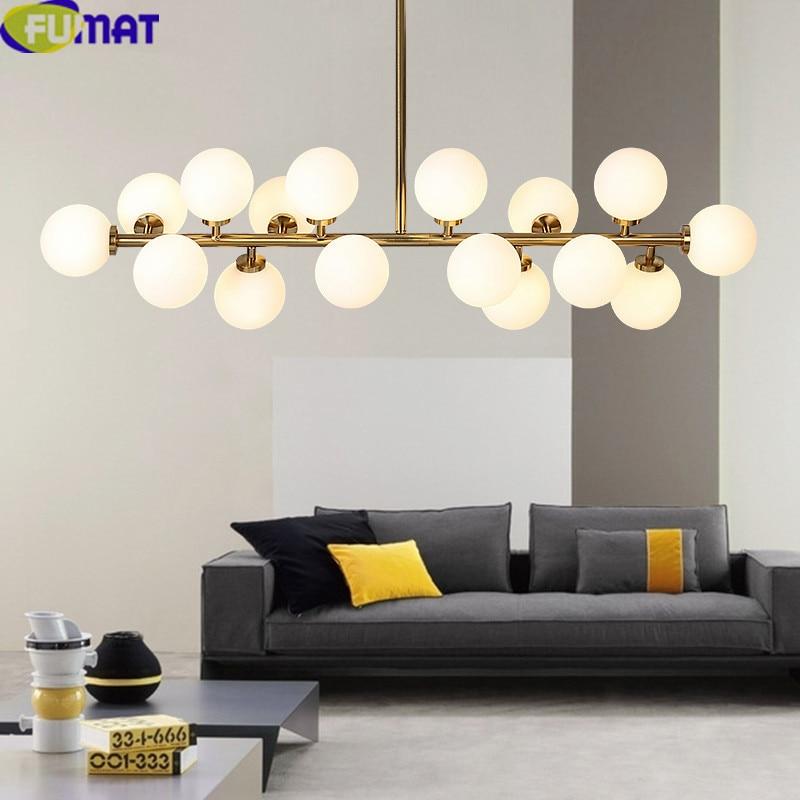 FUMAT 16 Heads Gold Body Bubble Glass Ball Chandeliers Living Room Light Fixtures Modern Art Glass Ball Chandelier Lighting LED
