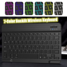Universal Wireless Keyboard Backlit 7-Color Ultra Slim Portable Wireless Bluetooth 3.0 Keyboard for IOS Android Windows Tablets animuss led illuminated backlit wireless bluetooth 3 0 keyboard support ios android windows