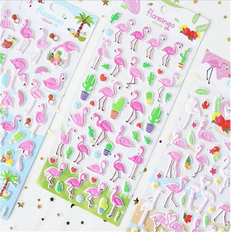 Cartoon Flamingo Pink 3D Decorative Stickers Adhesive Stickers DIY Decoration Diary Stickers cow spots decorative stair stickers