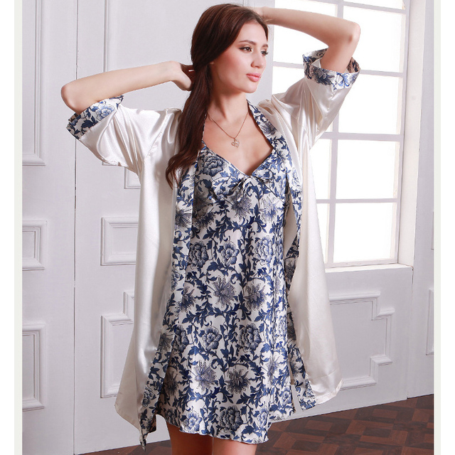 Women nightie and robe suit sexy v-neck lace robes and embroidery mini china style silk nightgown gowns for women home