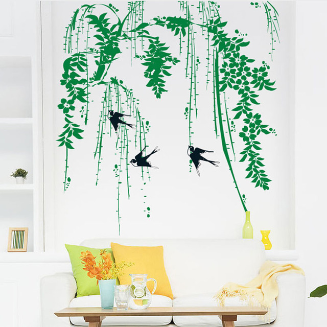 Green Willow Tree Swallow Wall Sticker Removable DIY Living Room ...
