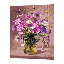 WONZOM Purple Flowers Oil Painting By Numbers DIY Abstract Digital Picture Coloring On Canvas Unique Gift Home Decor