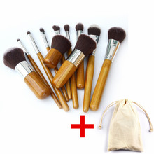 11Pcs Makeup Brushes Cosmetics Tools Natural Bamboo Handle Eyeshadow Blush Soft Cosmetic Brush Set Kit With linen Bag