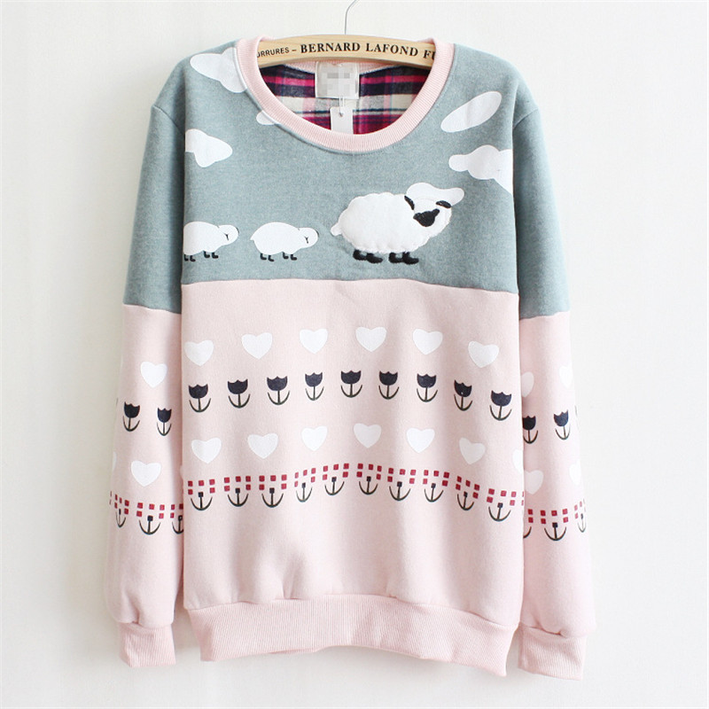 2019 New Women Pullover Cute Sheep Embroidered Thick Fleece Inside Warm Hoodies Pink and Gray Mix Color Hoodies for Women