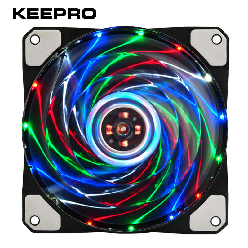 KEEPRO Original 15 Lights Silent Fan 3Pin/4Pin Cooler Fan Radiator 12V LED Light Heatsink Computer Case Fan Air Cooling 120mm 5pcs lot pure copper broken groove memory mos radiator fin raspberry pi chip notebook radiator 14 14 4 0mm copper heatsink