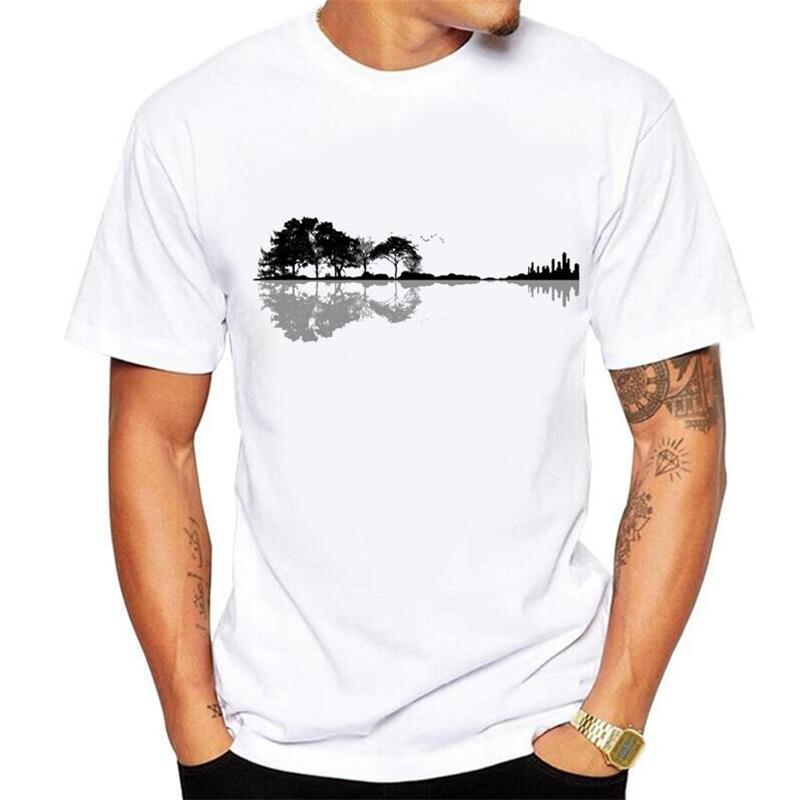No glue feeling Print Fun Nature Guitar   T     Shirt   Men Fashion Summer O-Neck White Cotton Short Sleeve Top   T  -  Shirt   Homme Size 5xl