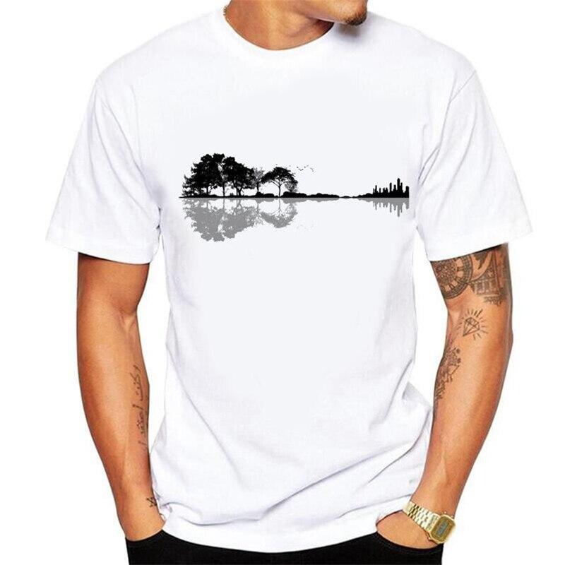 Sem sentimento de colagem impressão diversão natureza guitarra t camisa masculina moda verão o-pescoço branco algodão manga curta camiseta homme tamanho 5xl
