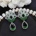 Glittering Synthetic Emerald CZ Diamond Jewelry Green Cubic Zircon Stone Paved Amerian Women Big Party Water Drop Earrings E251