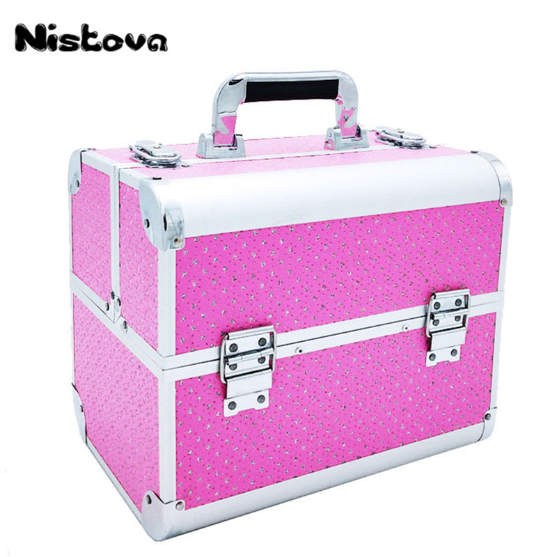 Makeup Train Case Portable Professional Cosmetic Organizer for Artist Durable Aluminum Frame with Locks and Folding Trays