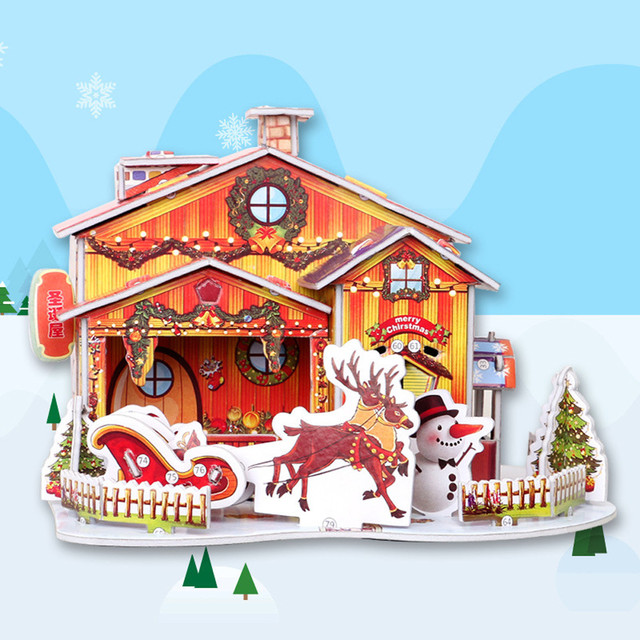 US $6 58 |Festival celebration Christmas Gift Cottage DIY cabin Handmade  Puzzle Snow Cartoon snowflake House Model Decoration-in Pendant & Drop