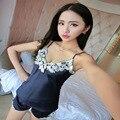 2016 Rayon Cintas Suspensórios Rendas Sexy Com Decote Em V das Mulheres Nightwear Pijama Define Duas Peças Camisola + Calça Estilo Verão Sleepwear